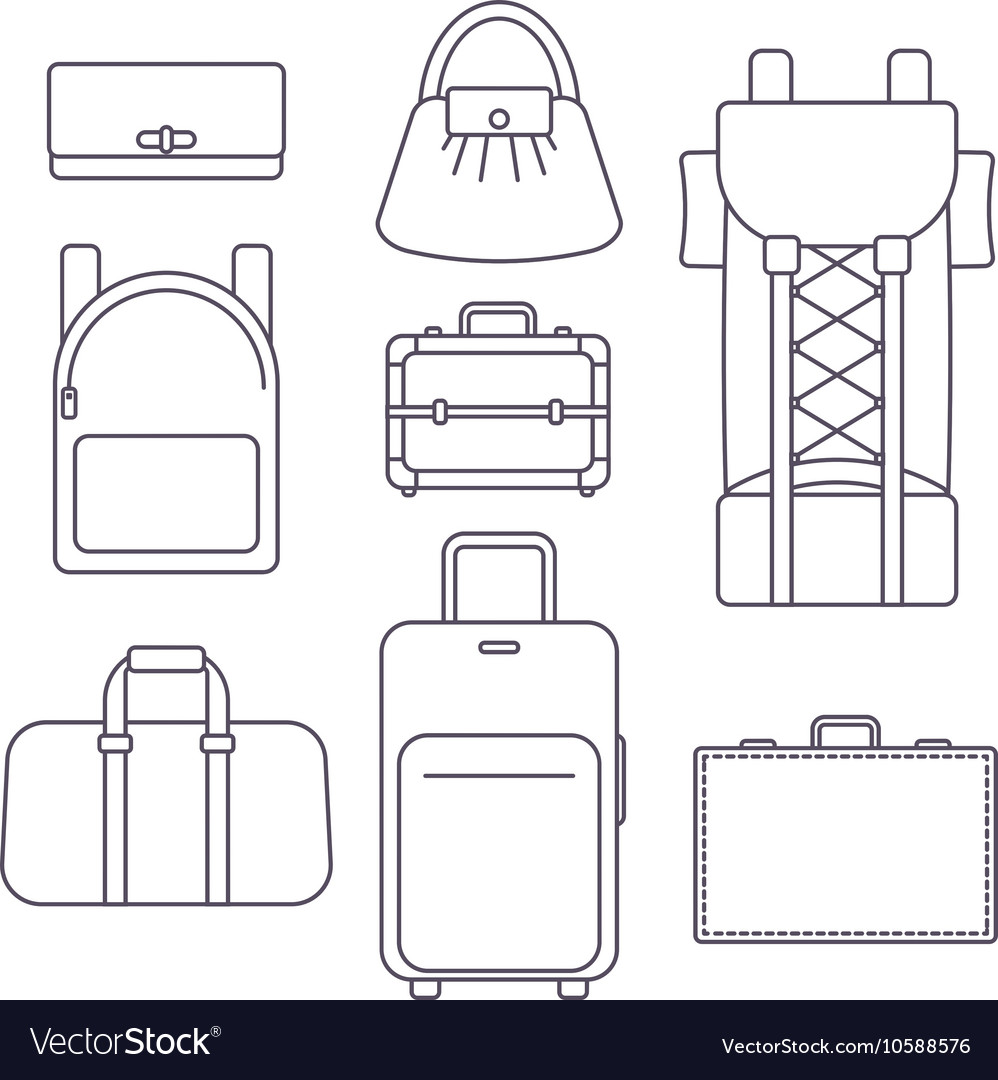 Different types of bags suitcase backpack and vector