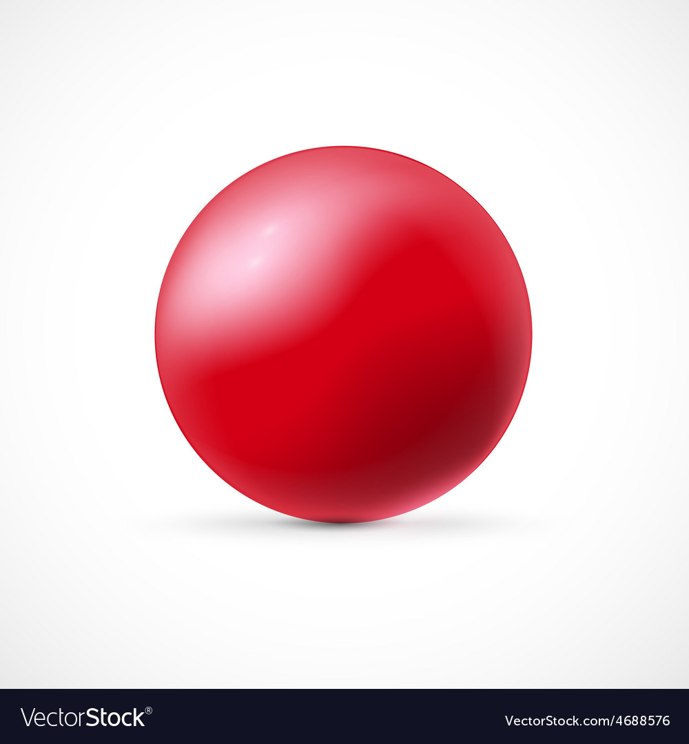 Red glossy sphere isolated on white background vector