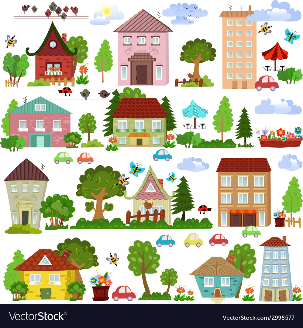 Collection a cartoon houses and trees for you vector