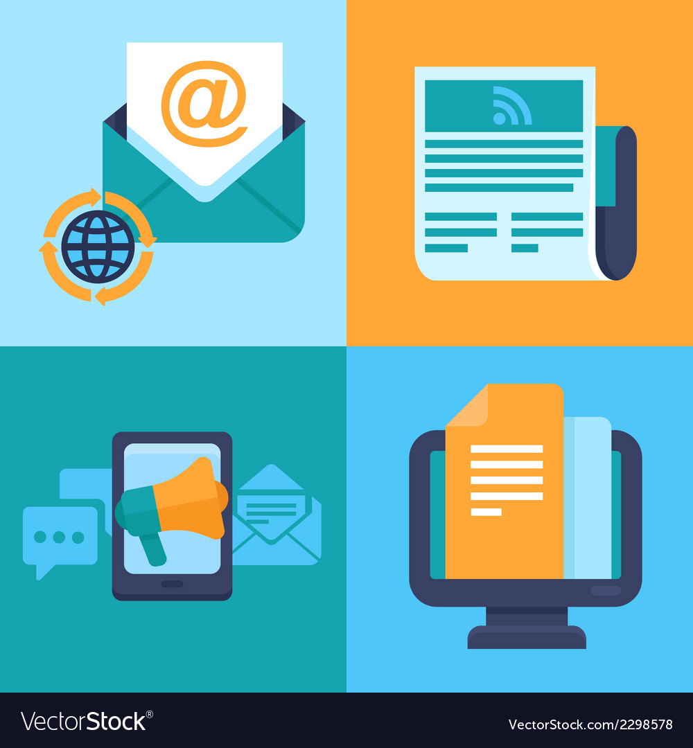 Email marketing concepts  flat icons vector