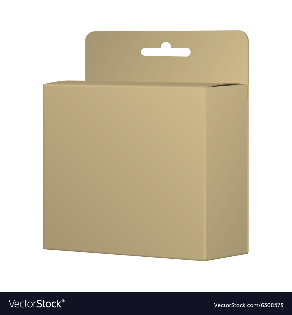 Realistic recycled card product package box mockup vector
