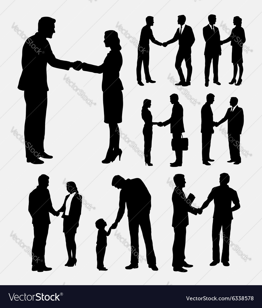 Shake hands male and female silhouettes vector