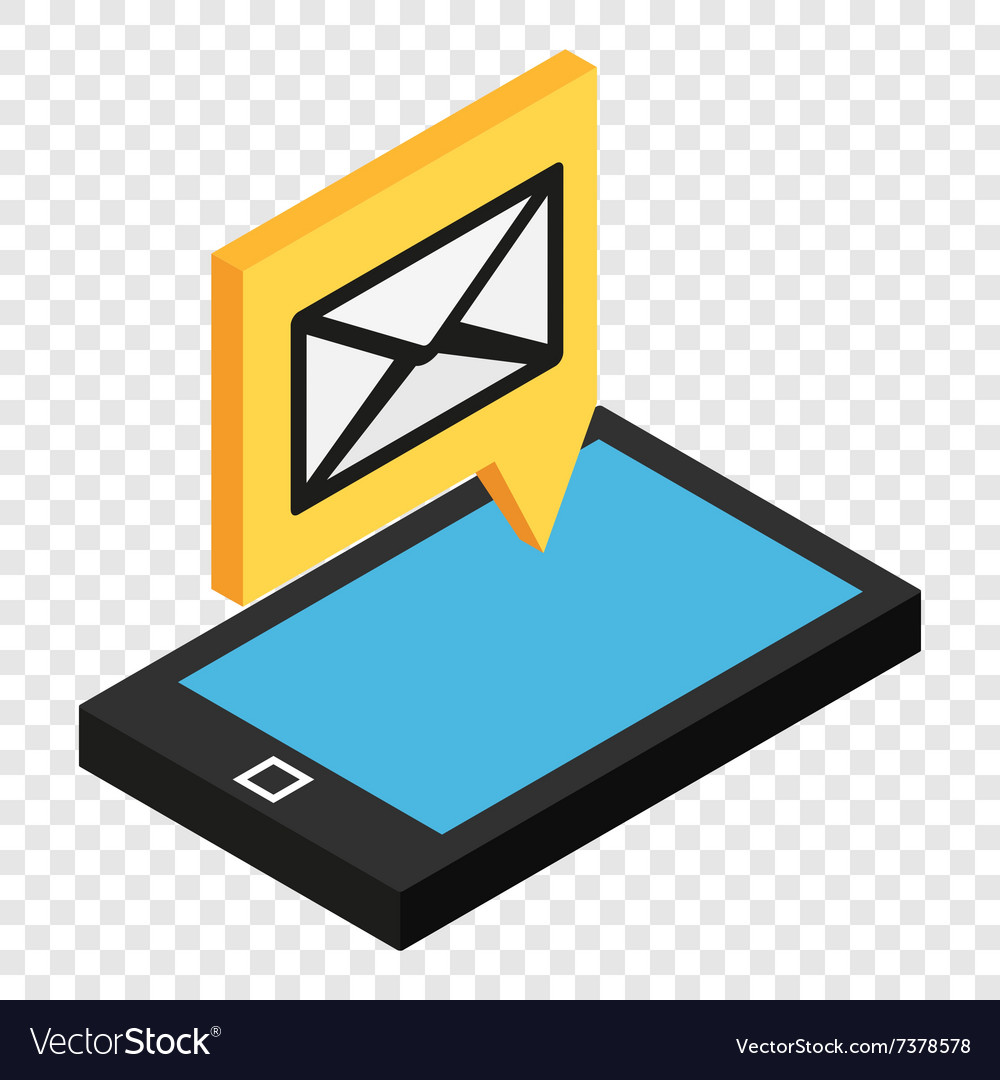 Sms isometric 3d icon vector