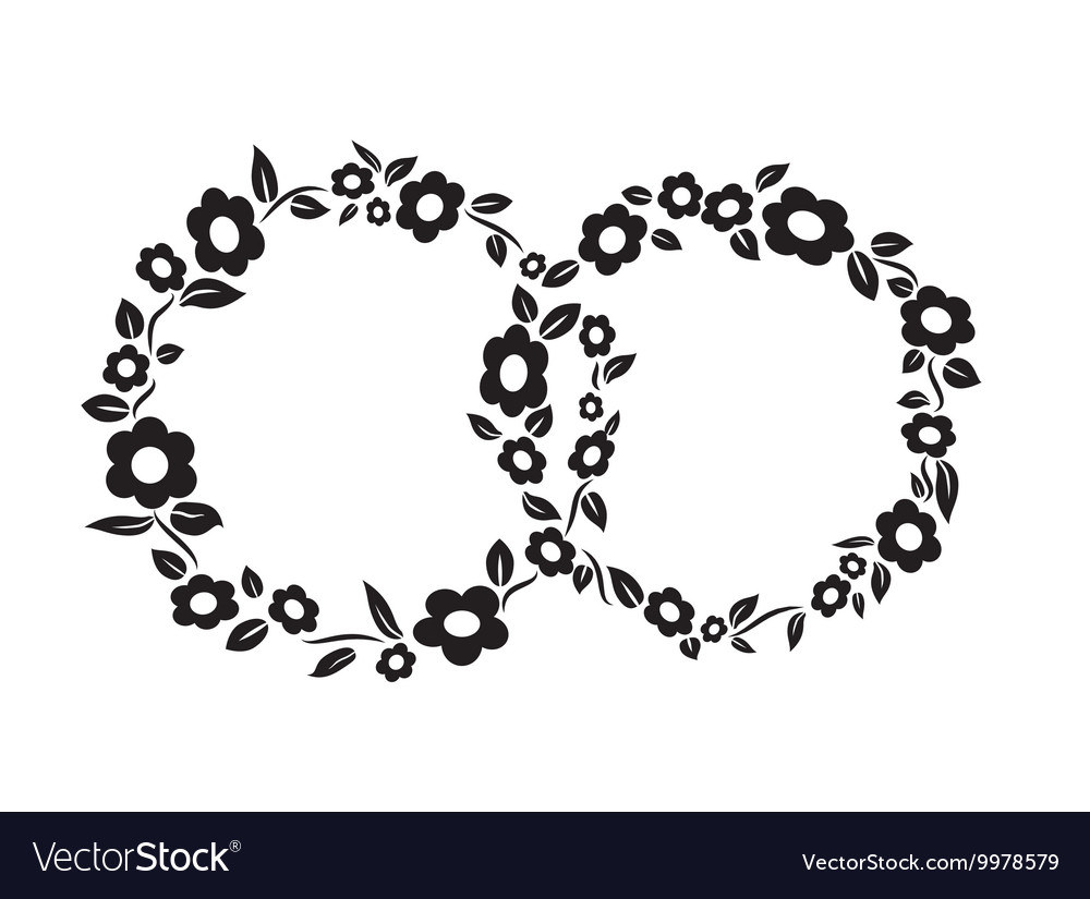 Black and white vintage flower interlinked rings vector