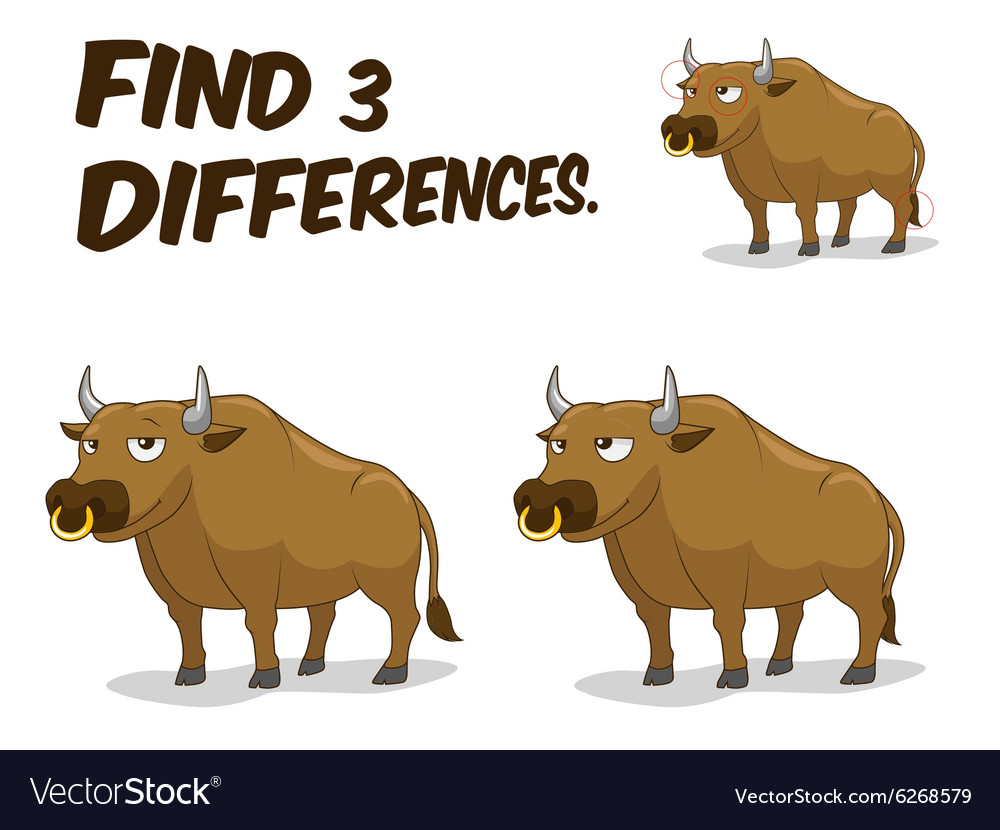 Find differences game bull vector