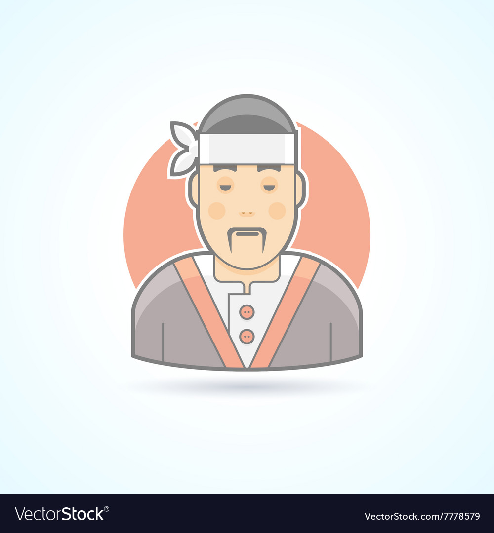 Japanese and asian cook sushi master icon vector