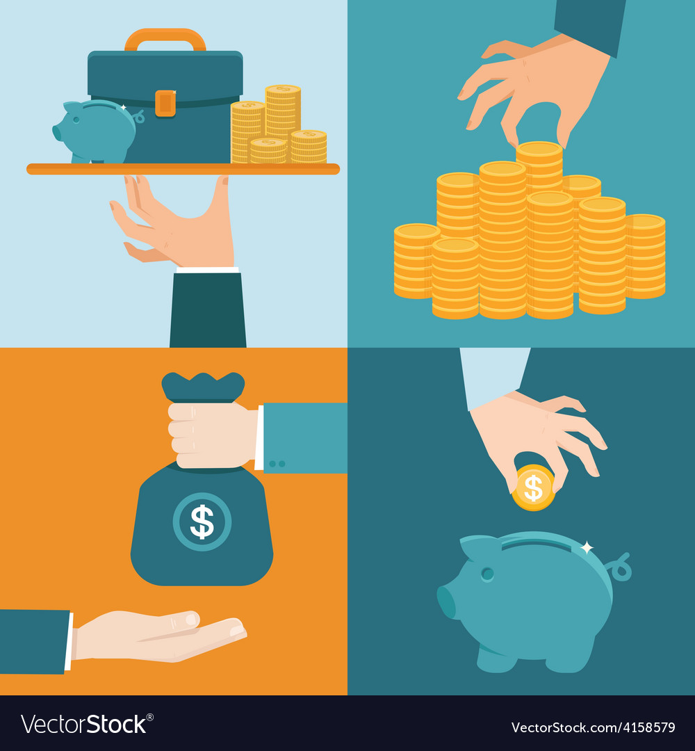 Set of banking concepts in flat style vector