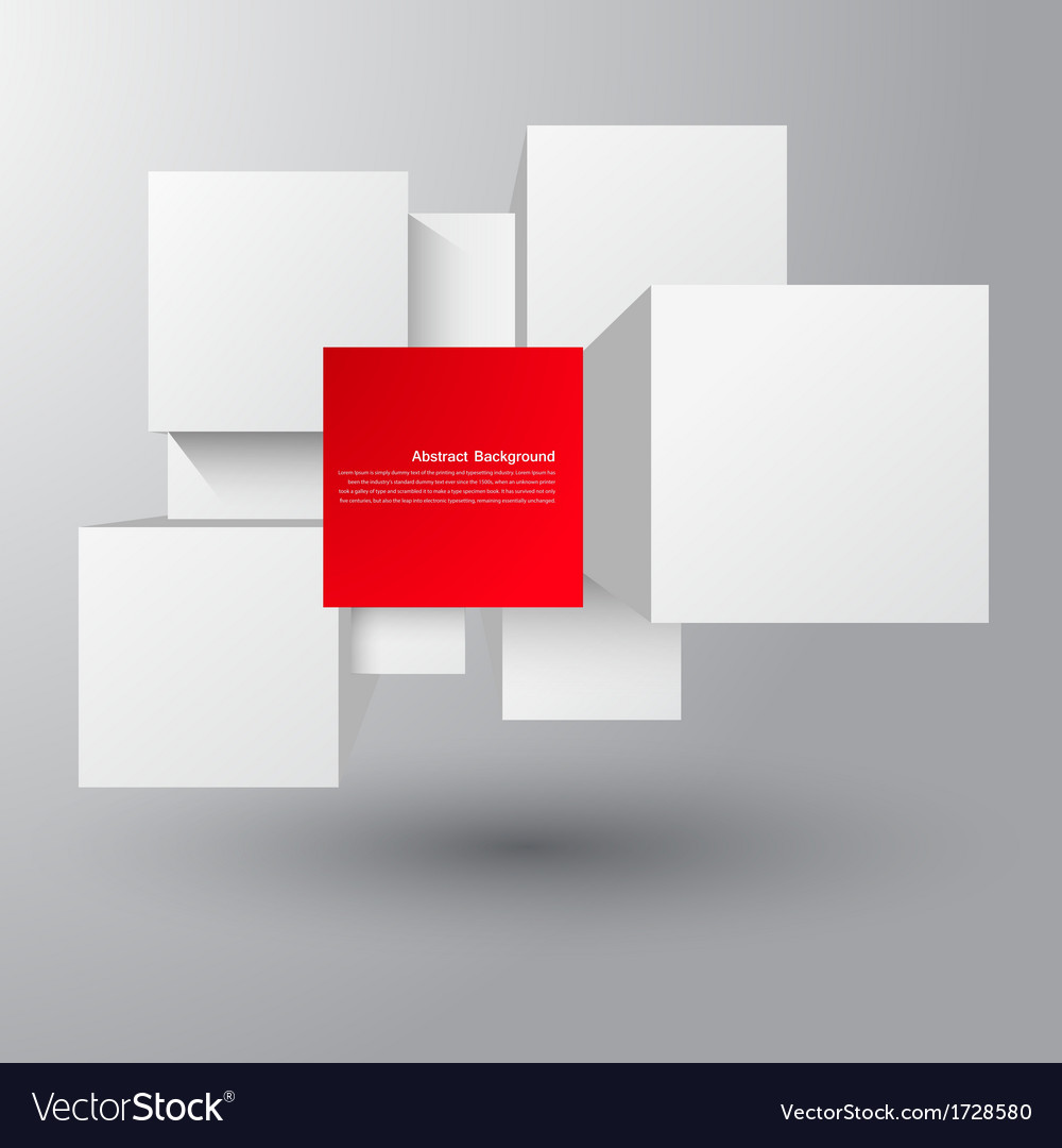 Abstract background square and 3d object vector