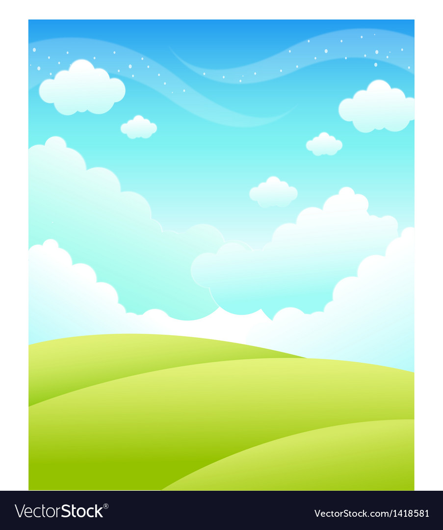 Green landscape and sky vector