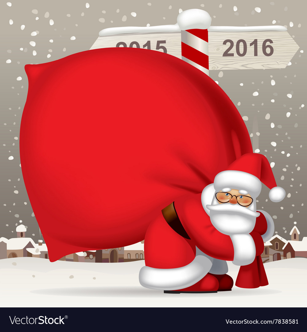 Santa claus carrying a big red sack full of gifts vector