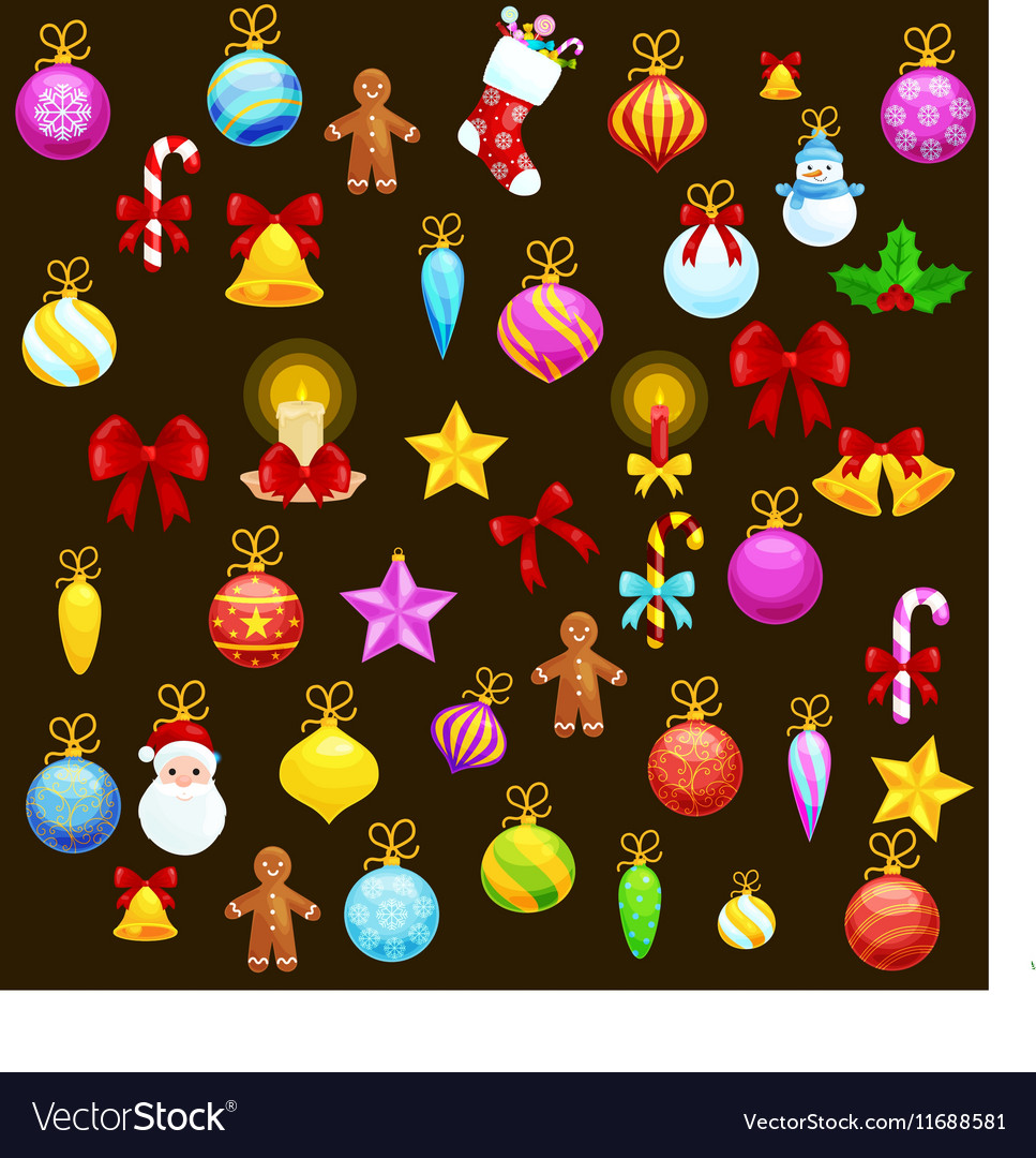 Set of isolated christmas decoration for merry vector