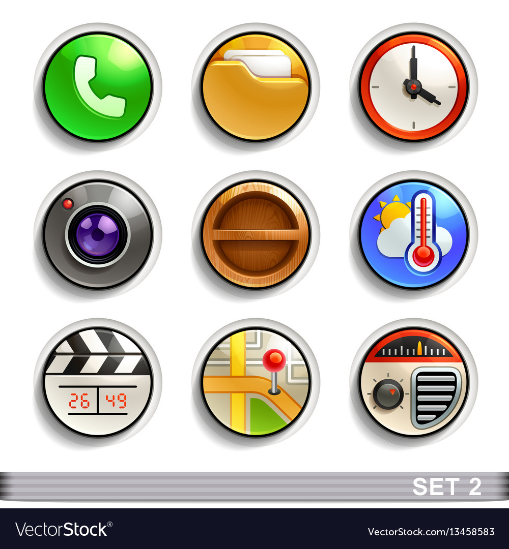 Round button iconsset 2 vector