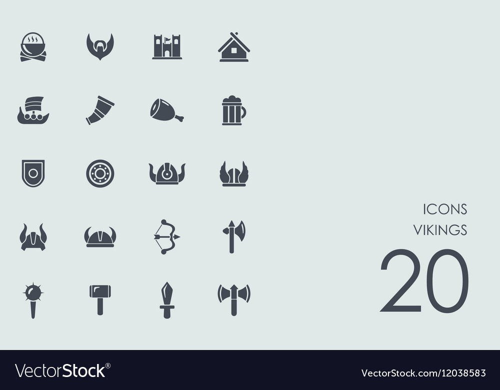 Set of vikings icons vector