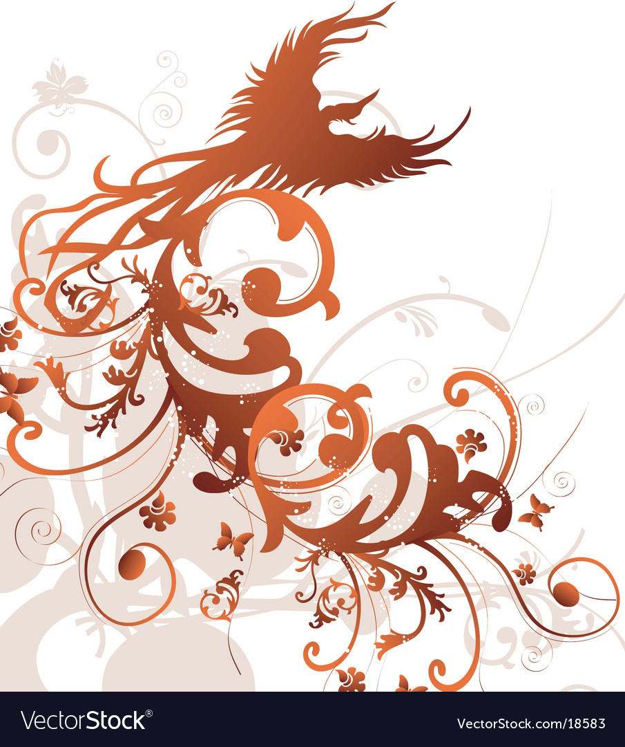 Tribal floral bird design vector