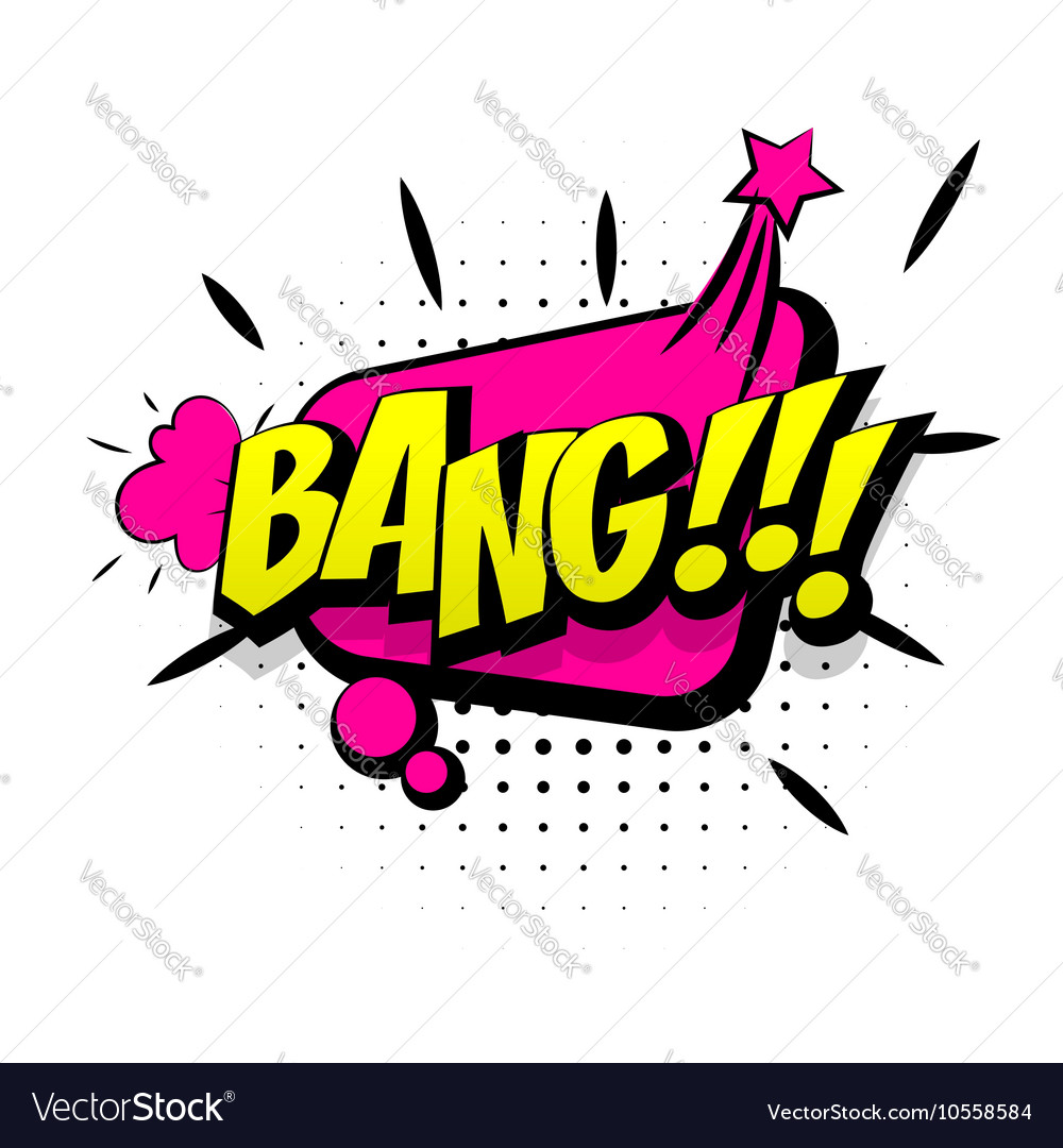 Comic pink sound effects pop art word bang vector