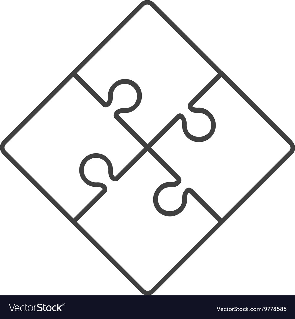Square in four puzzle pieces icon vector