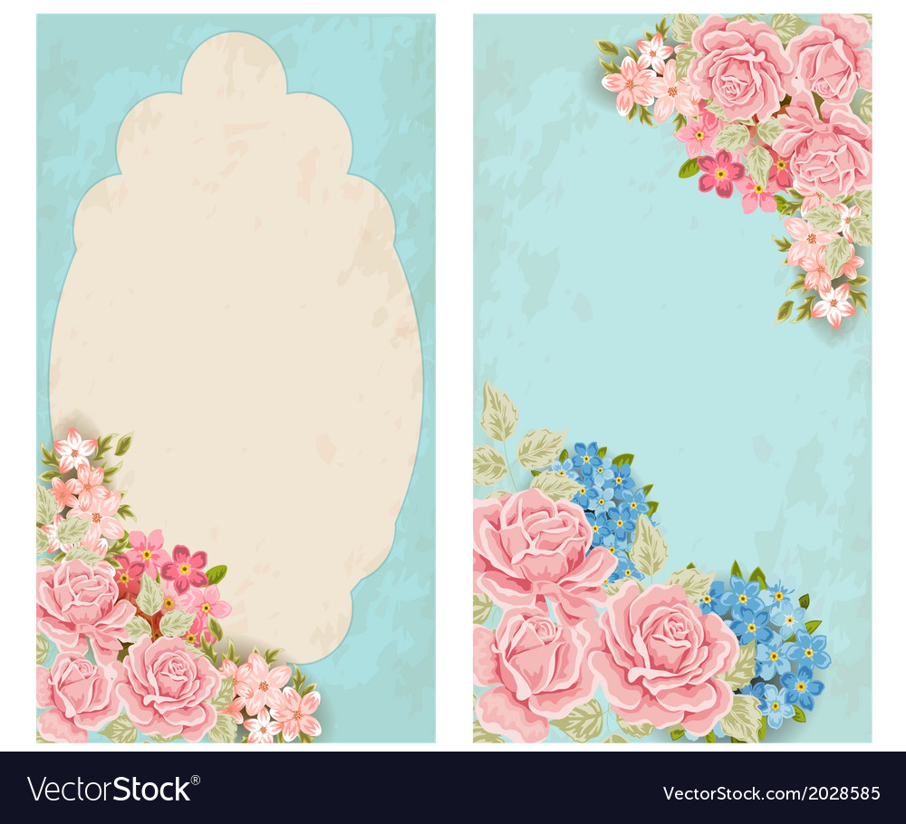 Vintage labels with flowers vector
