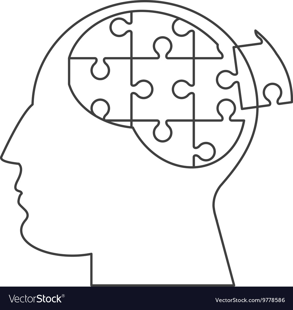 Brain in puzzle pieces icon vector