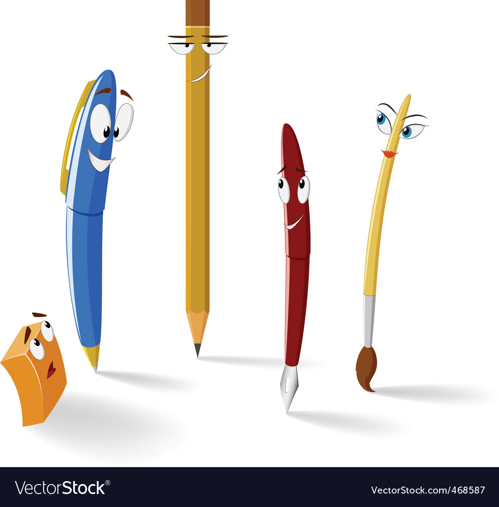 Cartoon stationery items vector