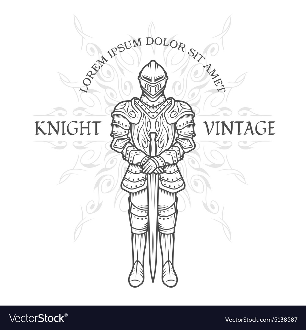 Medieval knight in armor with a sword vector