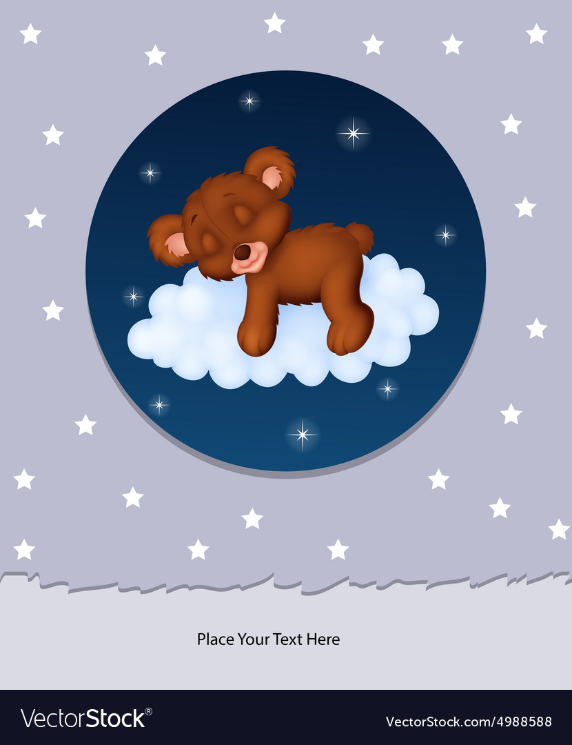 Baby bear sleeping on cloud vector