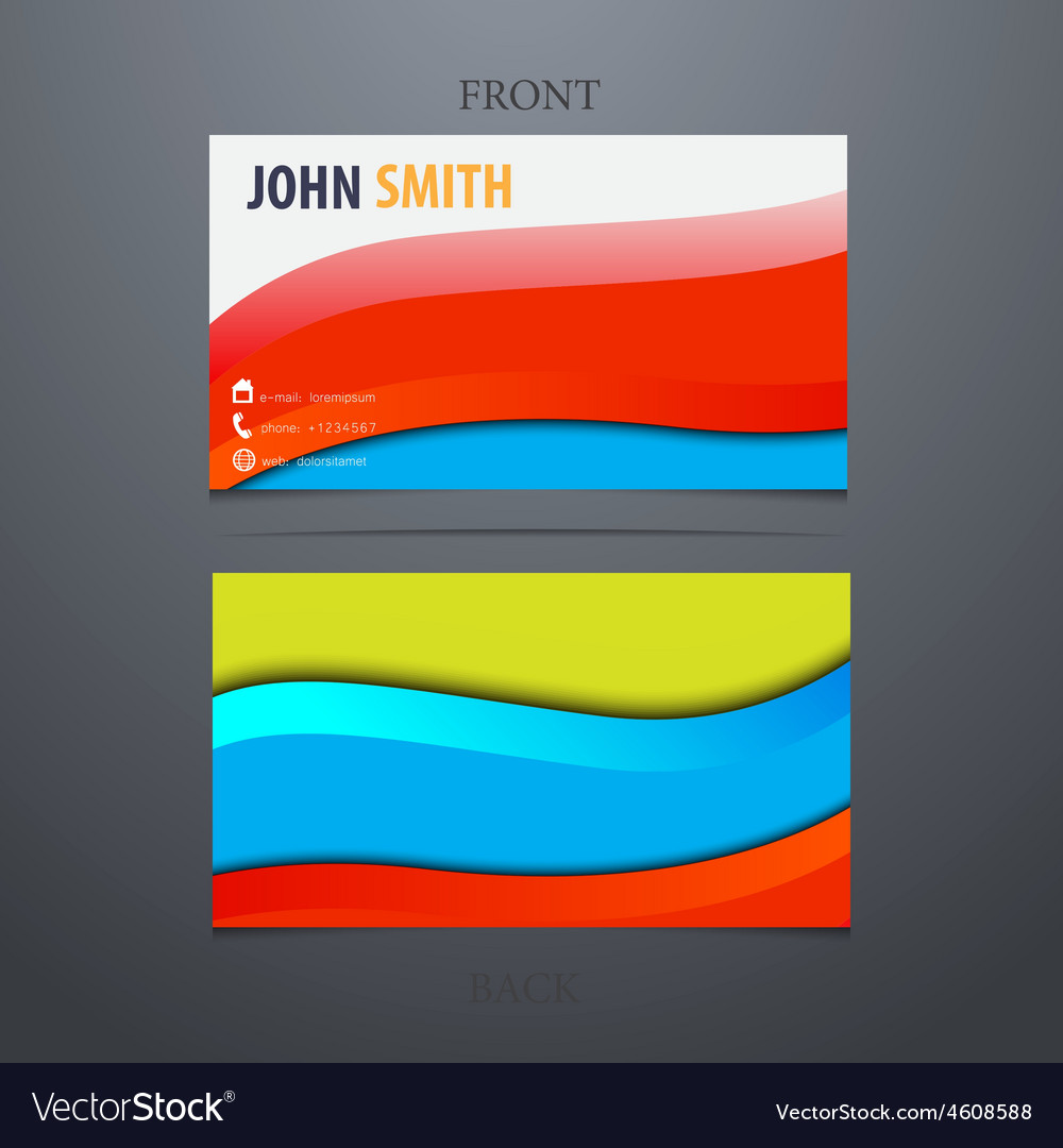 Modern business card with waves vector