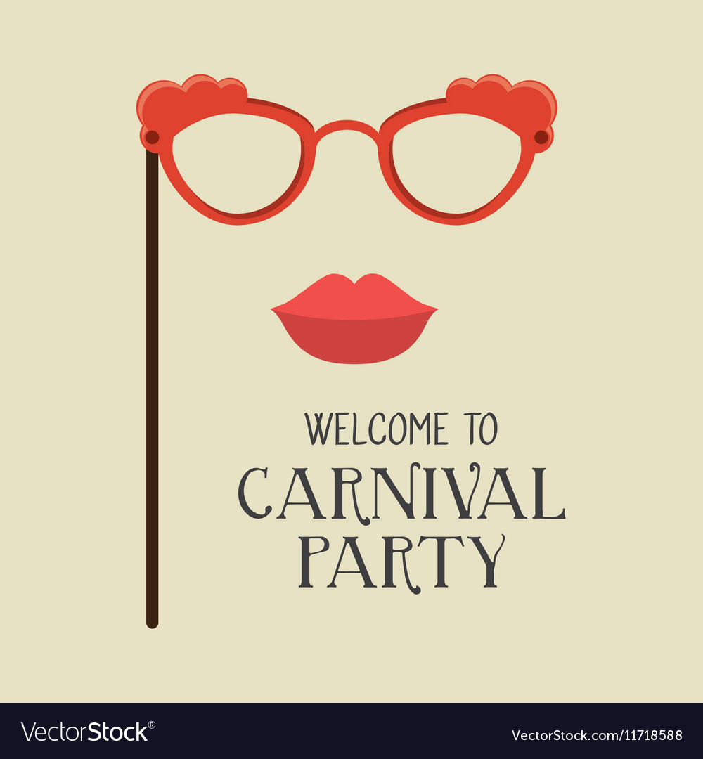 Poster welcome carnival party glasses and woman vector