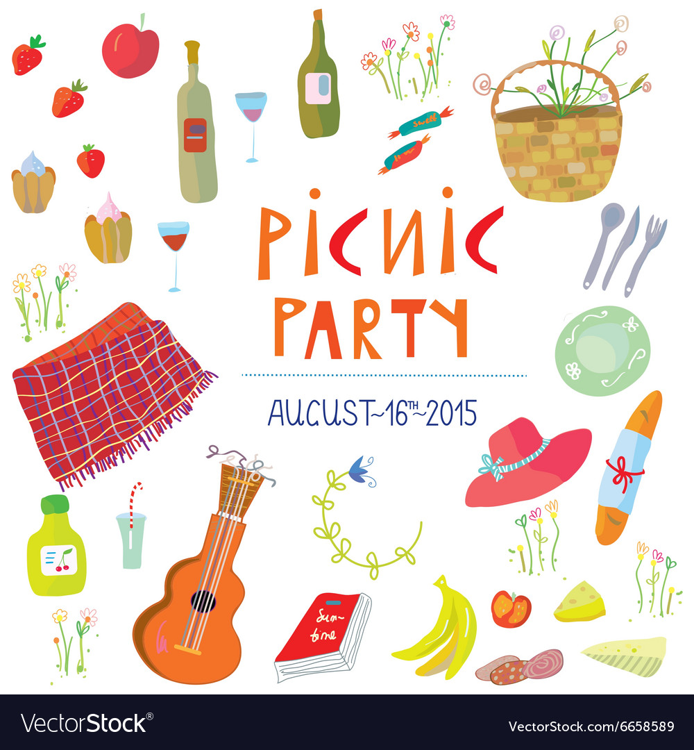 Picnic party banner  vector