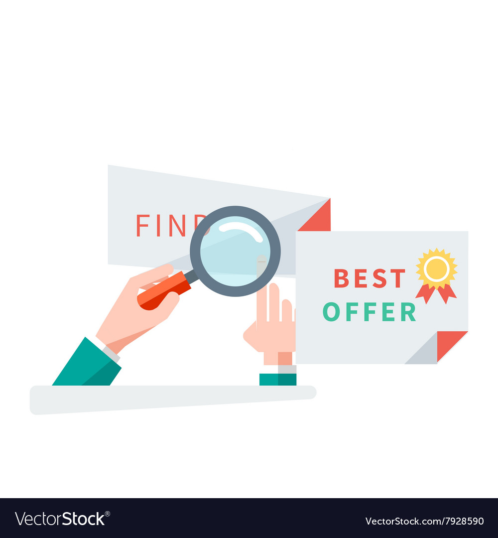 Find best offer design flat concept vector