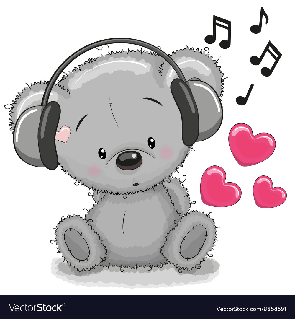 Bear with headphones vector