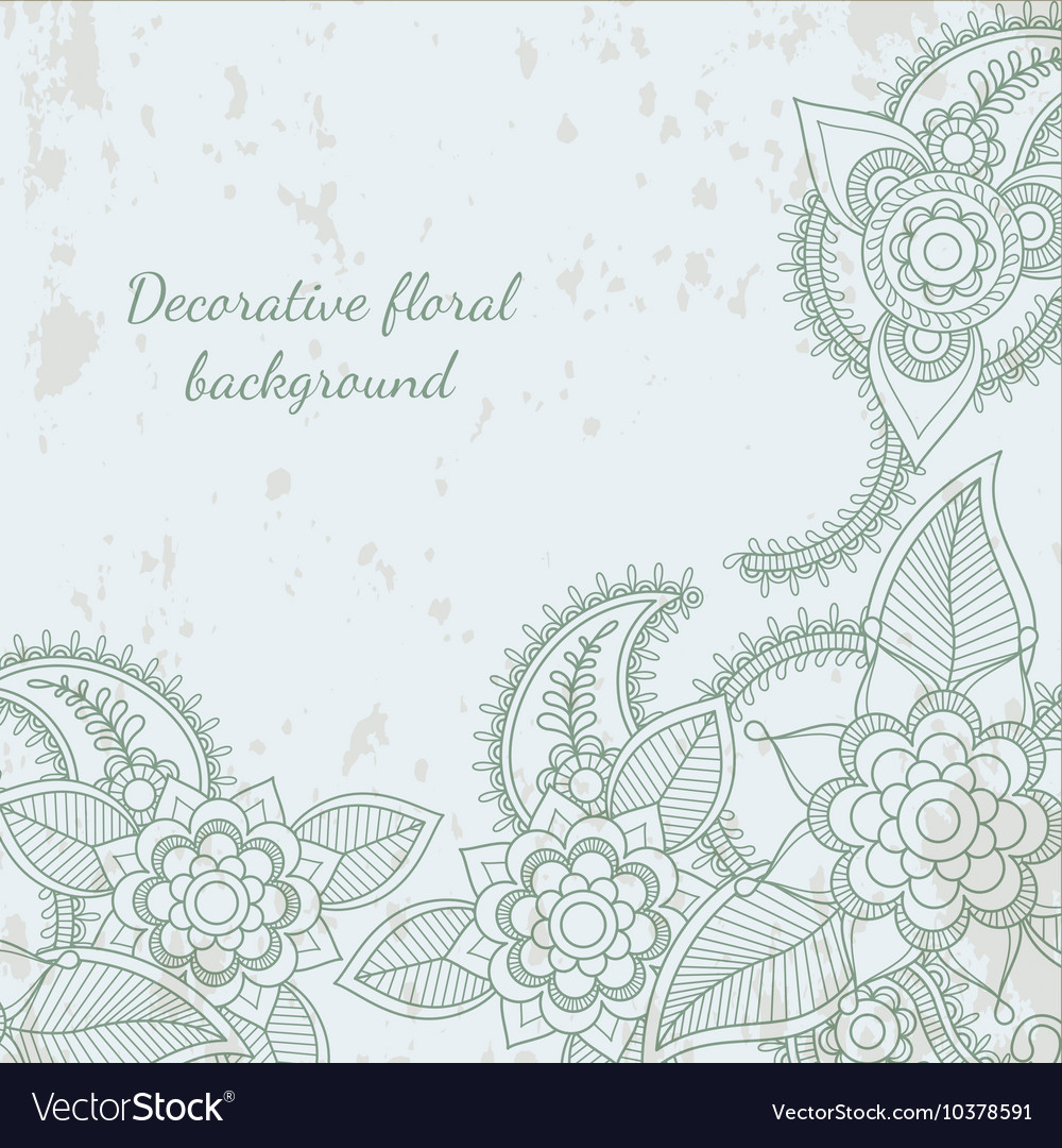 Decorative flower leaf henna background vector