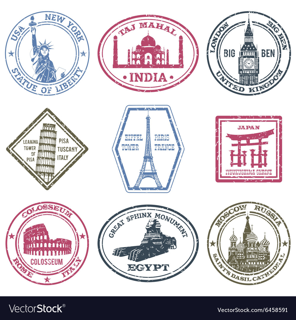Monuments stamps set vector