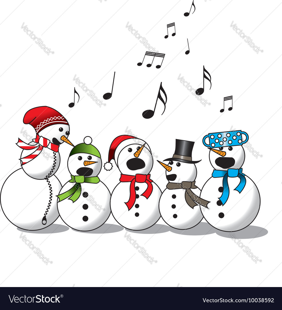 Snowman singing choir vector