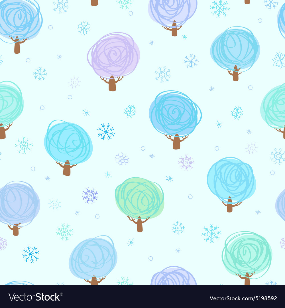 Winter trees and snowflakes seamle vector