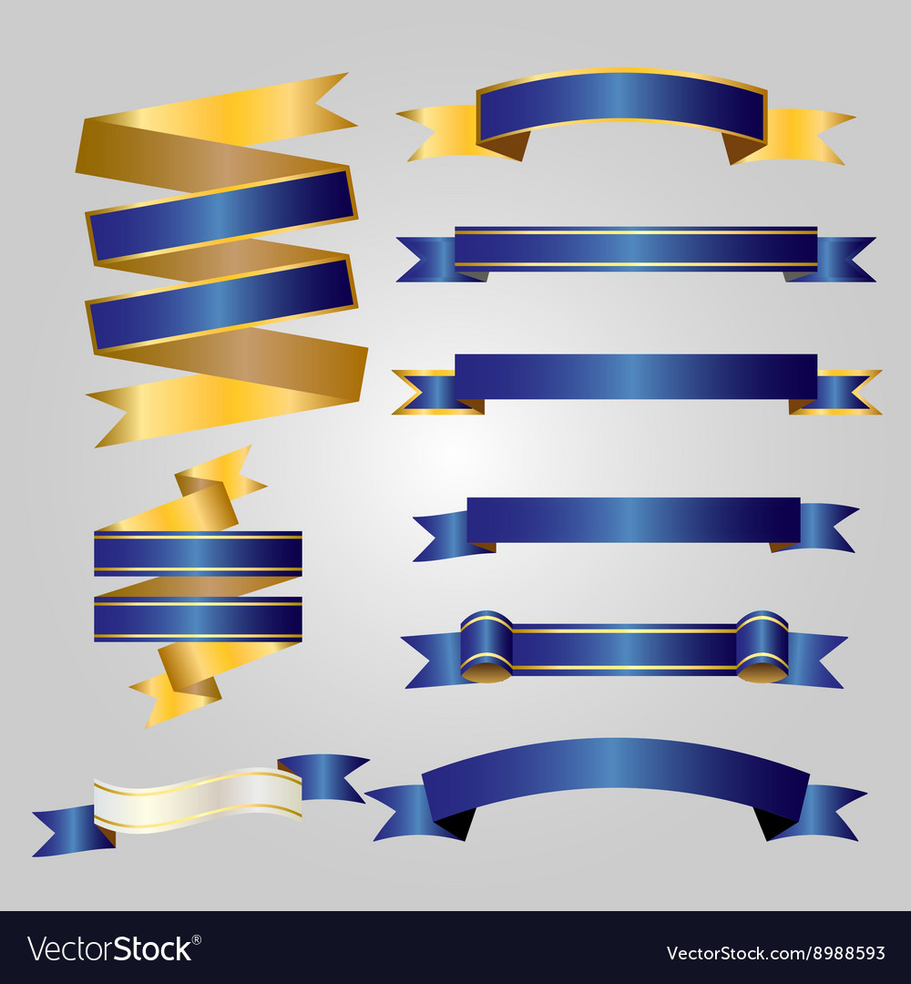 Blue with gold ribbon vector