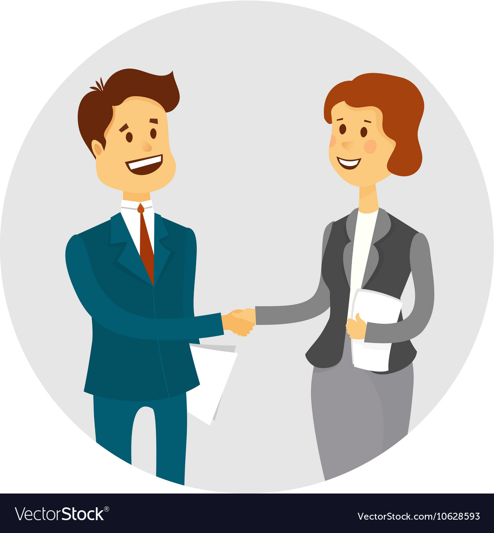 Business people shaking hands finishing up a vector