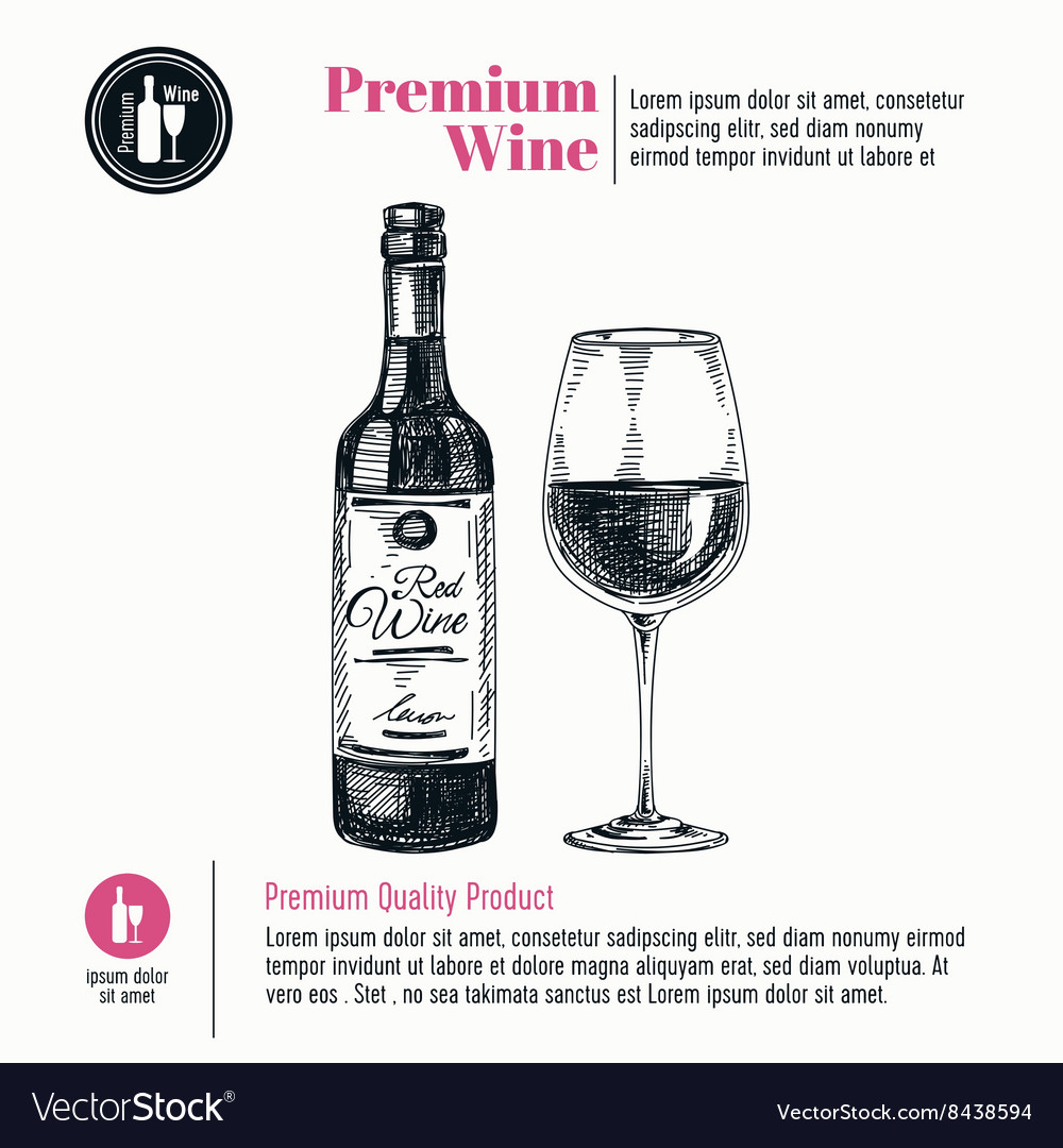 Background with hand drawn wine bottle and vector