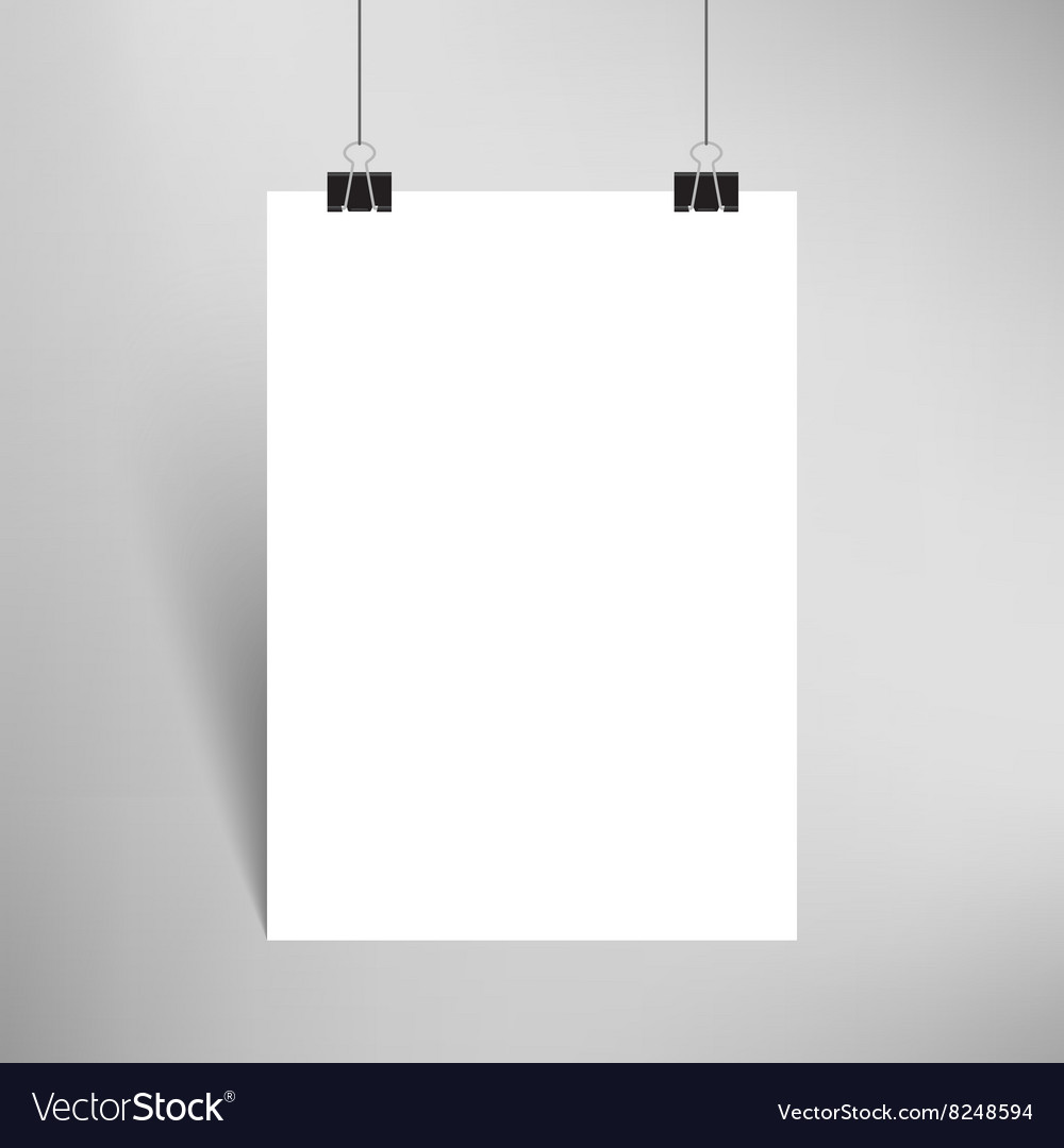 Blank paper with paperclips and shadow vector