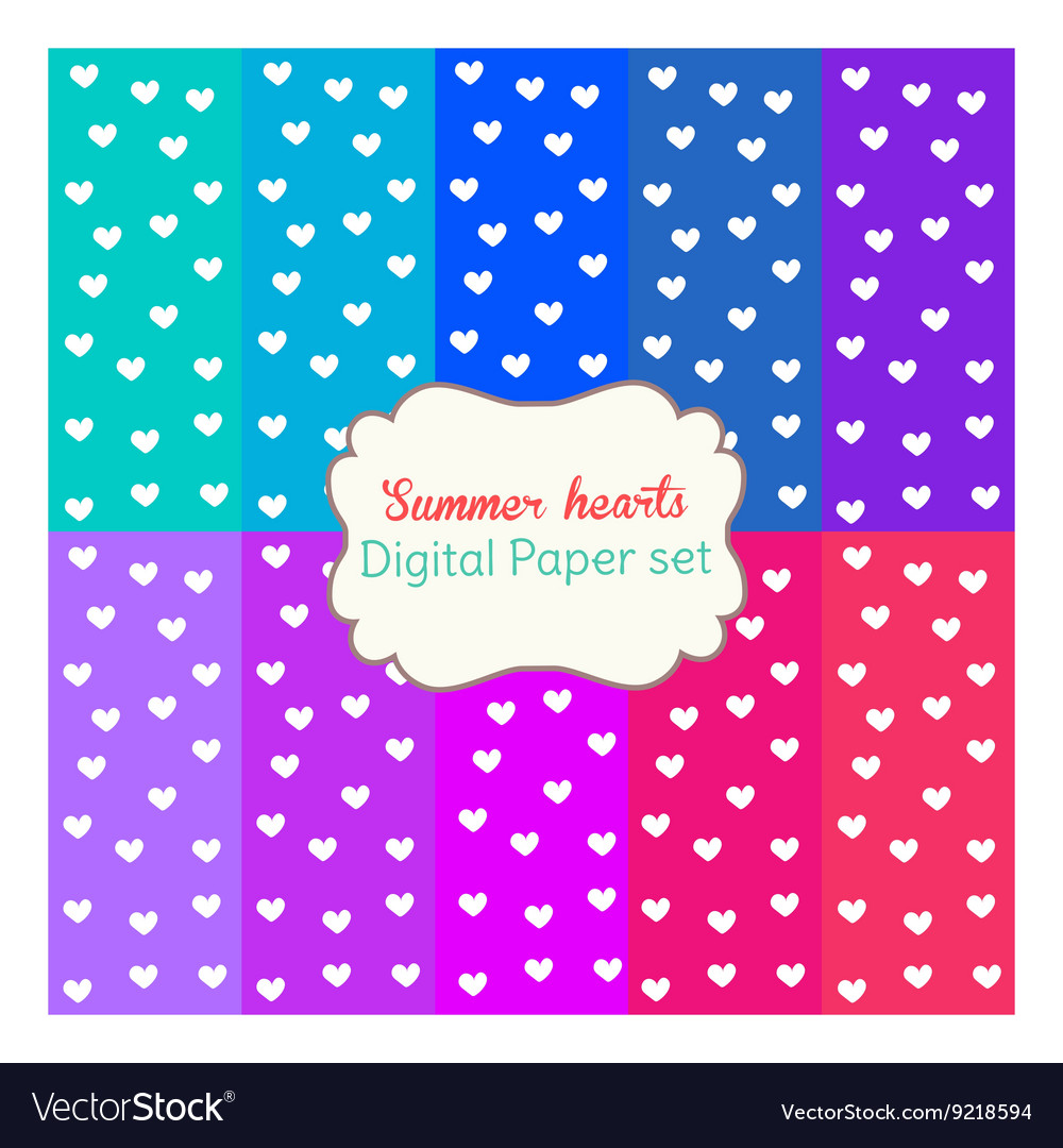Digital papers rainbow mixed patterns backgrounds vector