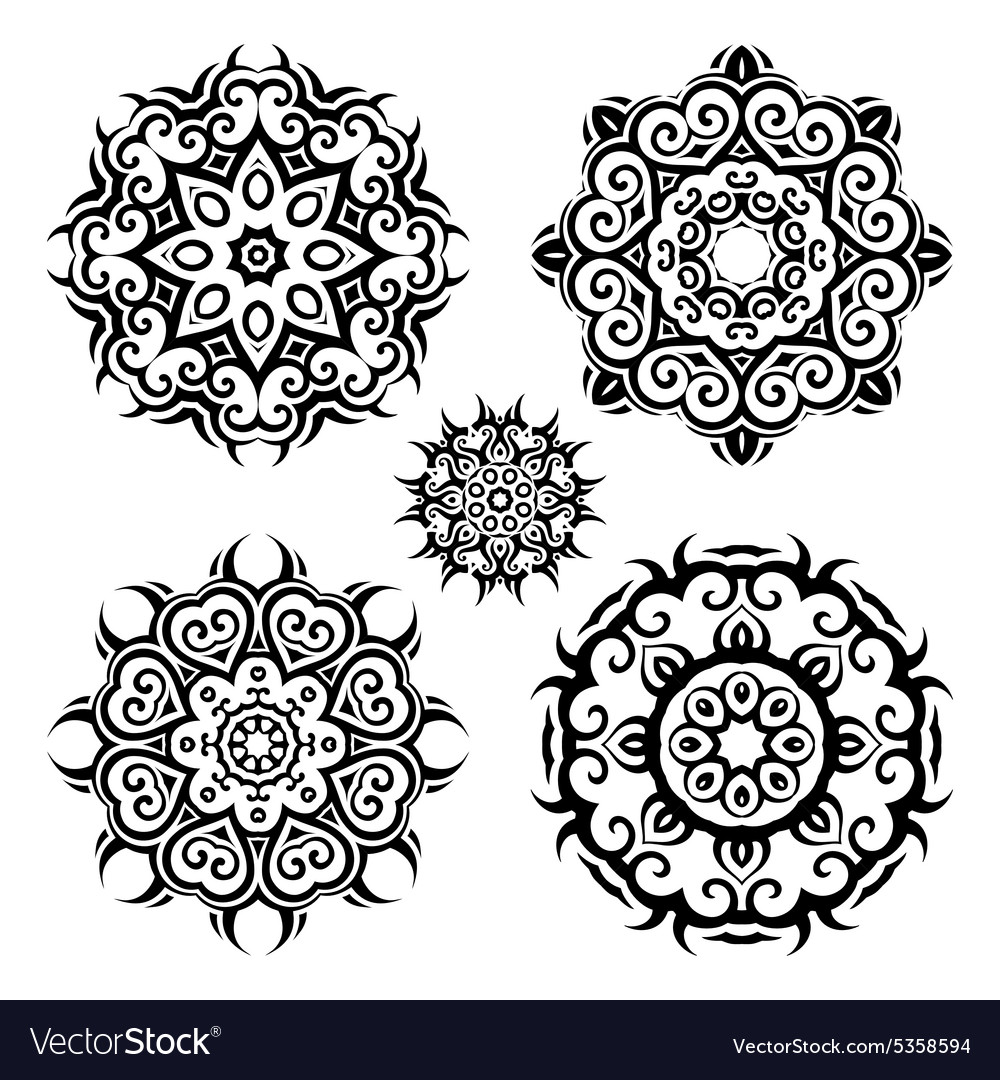 Mandalavintage pattern set vector