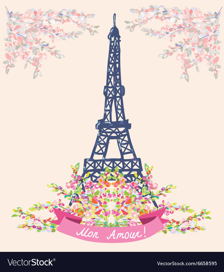 Love in paris nice card  vintage floral design vector