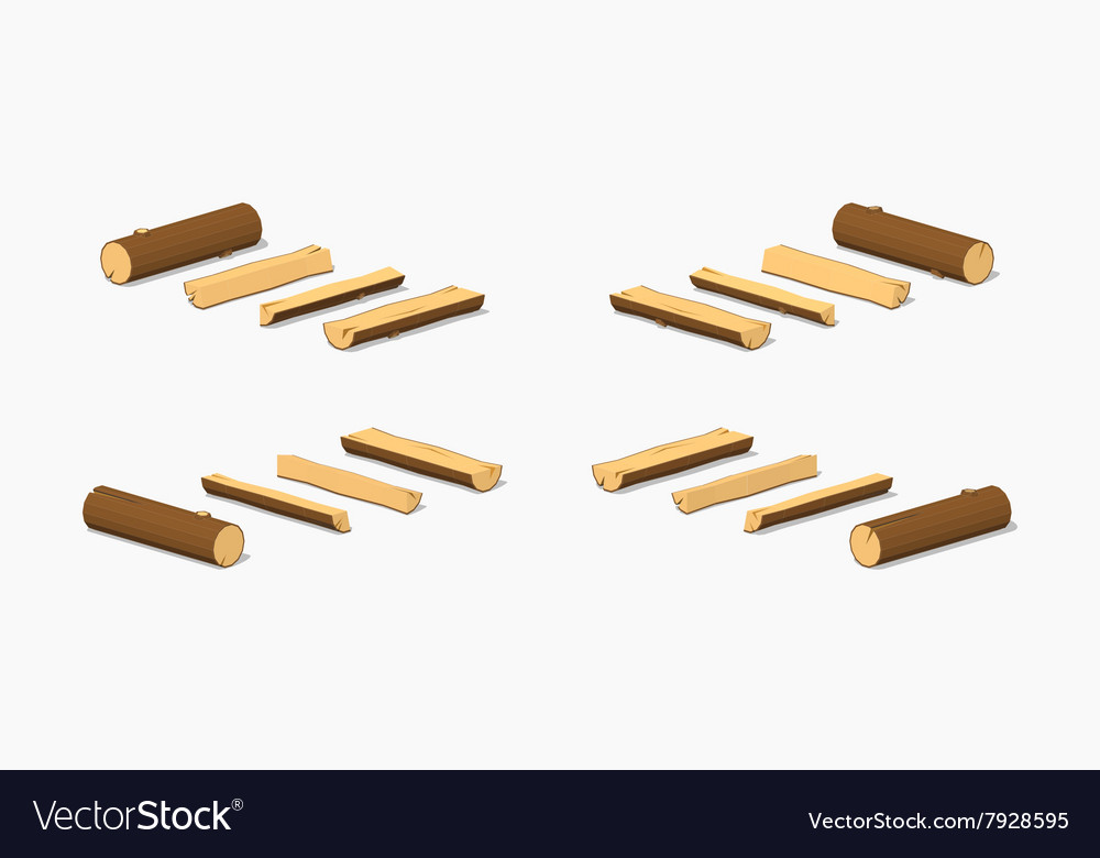 Low poly small logs vector