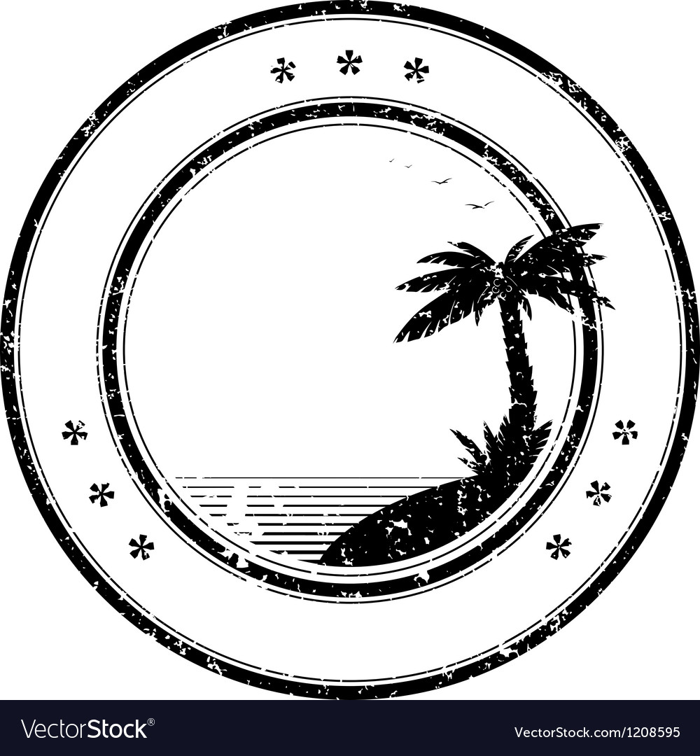 Tropical island grunge stamp vector