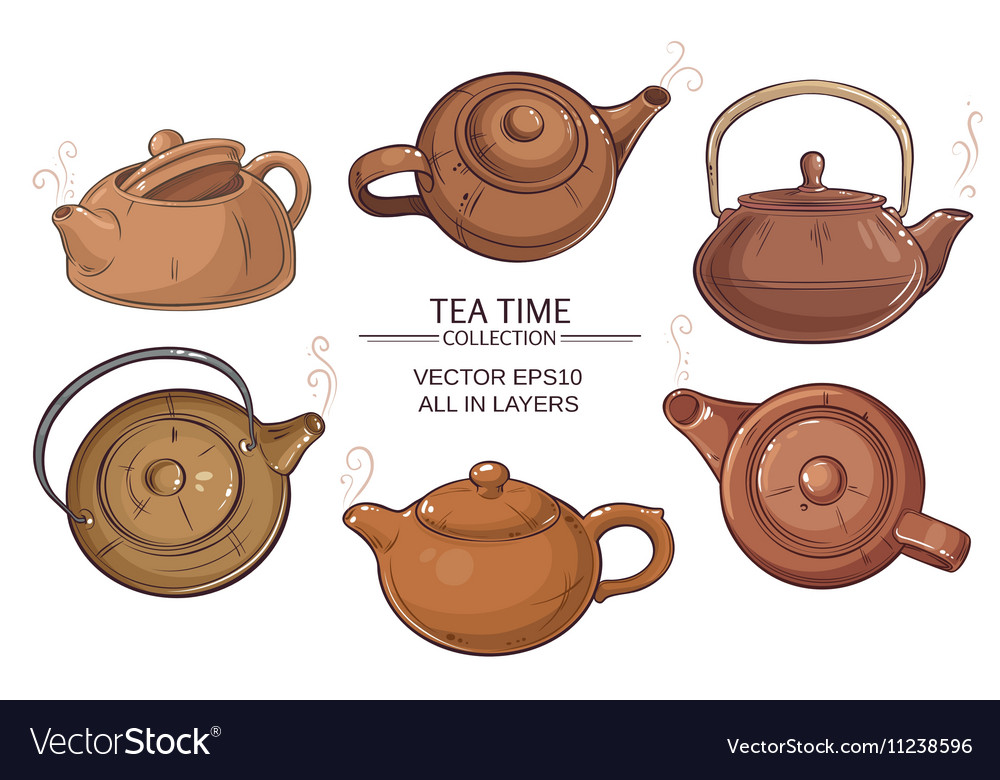 Teapots set vector