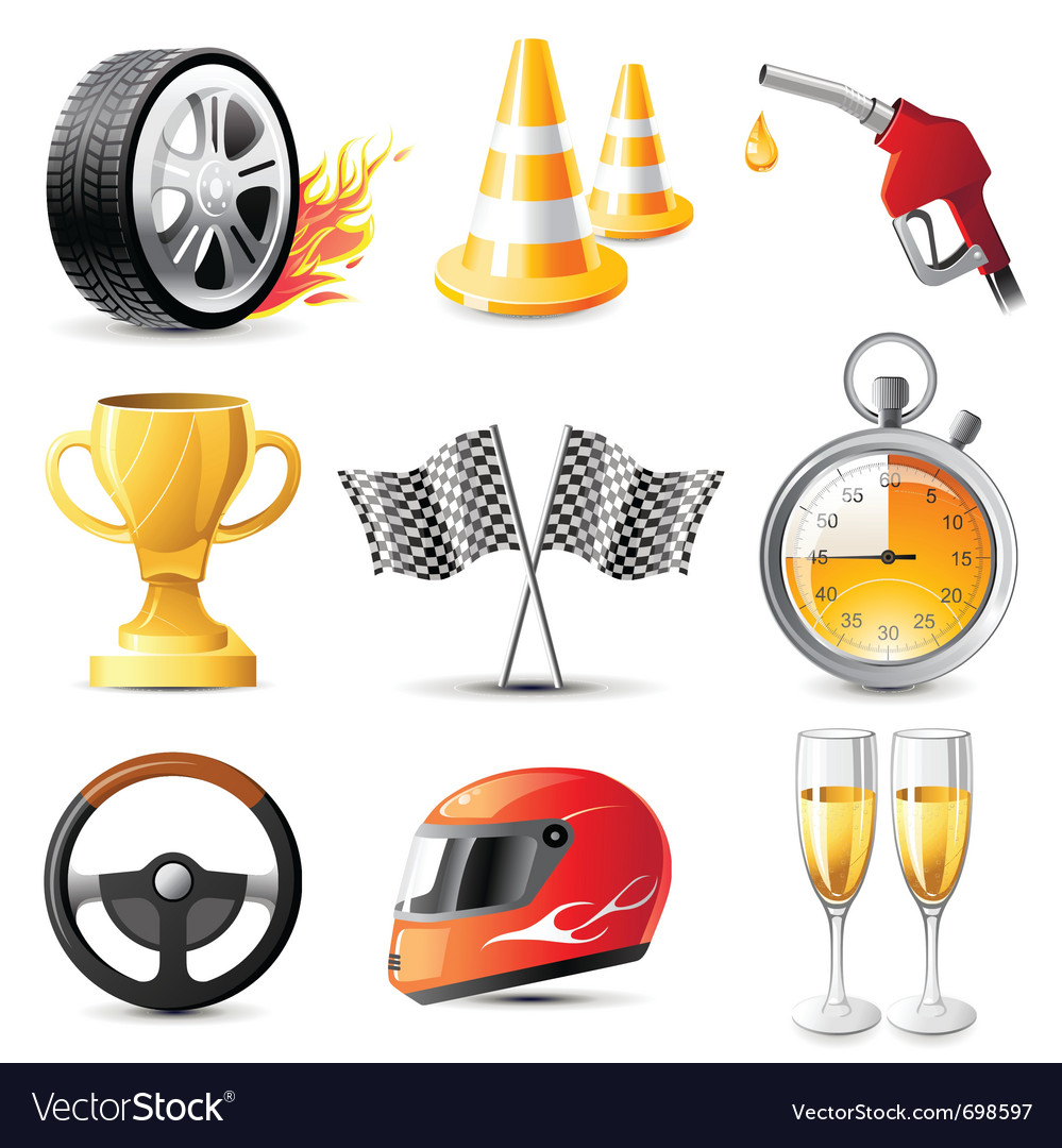 Car racing icons set vector