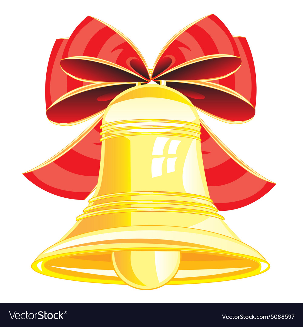 Gold bell and bow vector