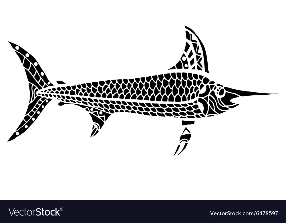 Zentangle stylized fish vector