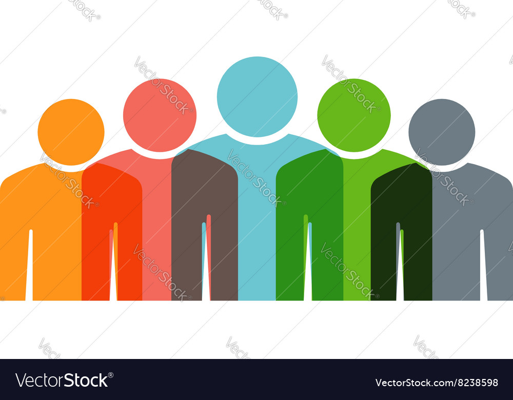 Teamwork embrace 6 group of people vector