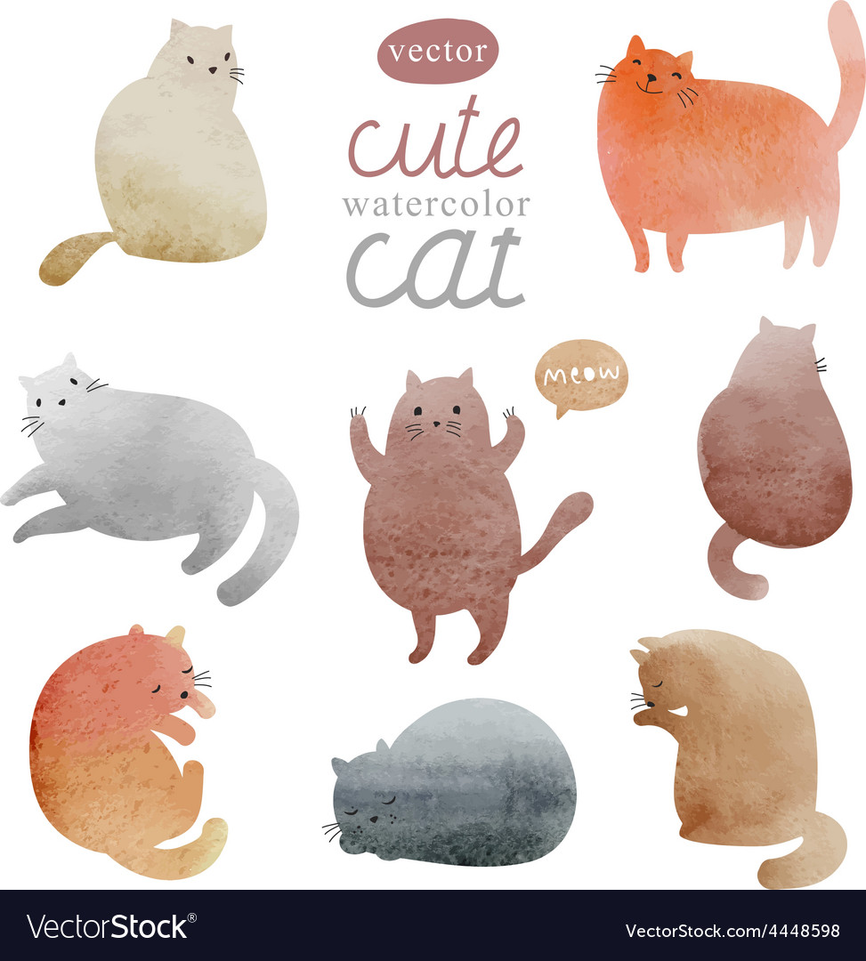 Watercolor cats in vector