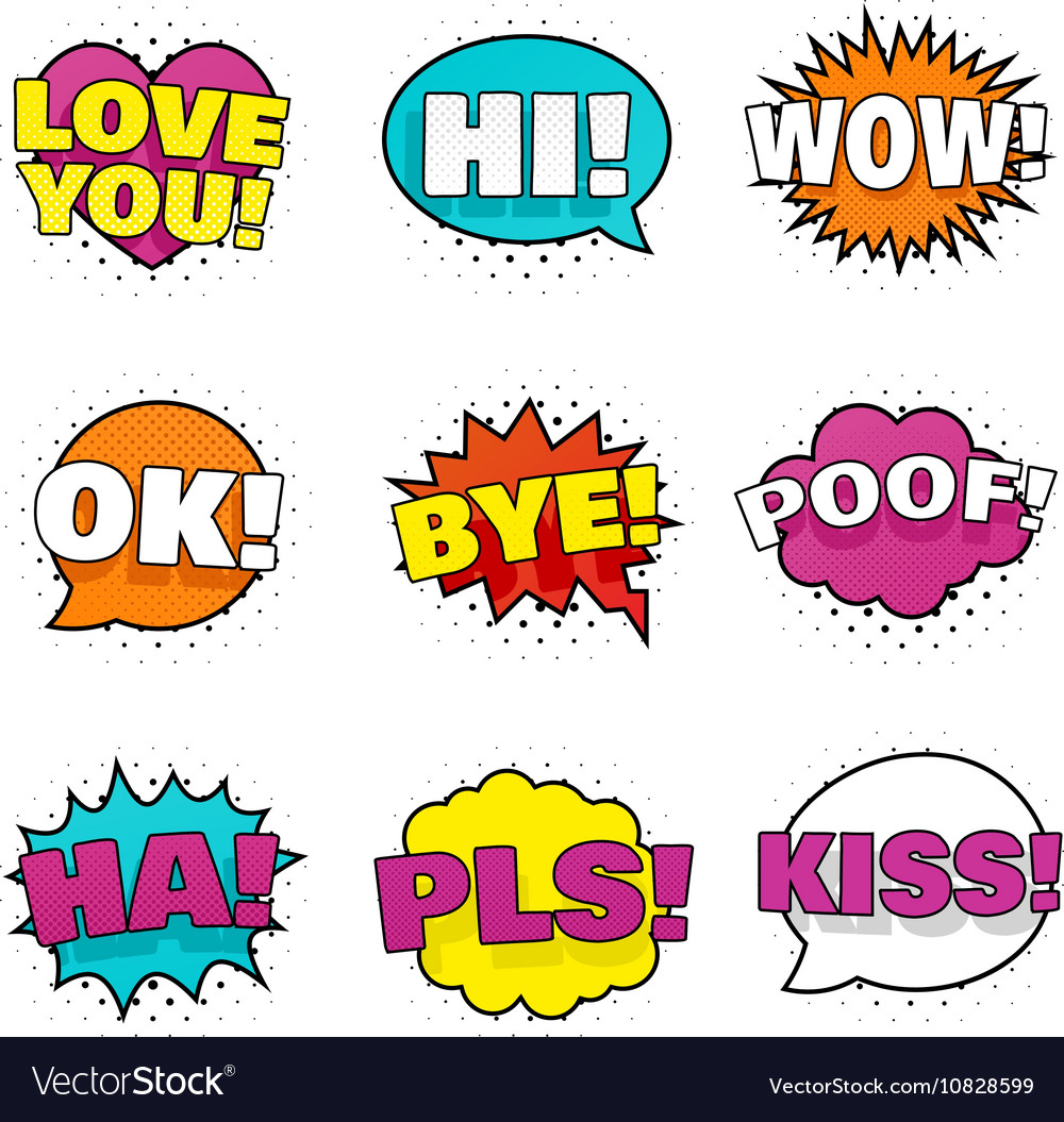 Bright colorful stickers vector